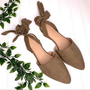 Brown Taupe Ballet Ankle Tie Bow Flats
